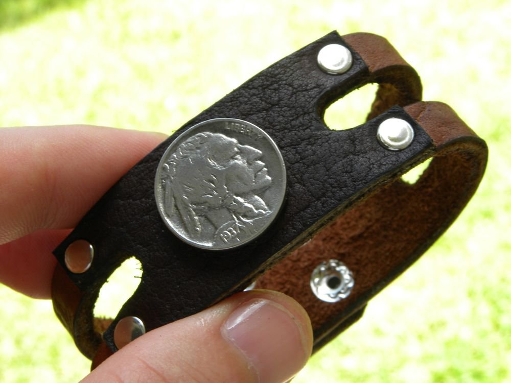 Handmade Authentic Buffalo Leather cuff wristband Indian Head Nickel Bracelet