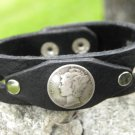 Handmade  cuff Bracelet  wristband Athentic Bison Leather Silver Mercury di
