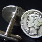 Handmade Cuff links  Vintage Silver Mercury dime coin readable dates guaranty