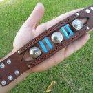 Handmade  Buffalo Leather cuff wristband bracelet Indian Head Navajo style ketoh