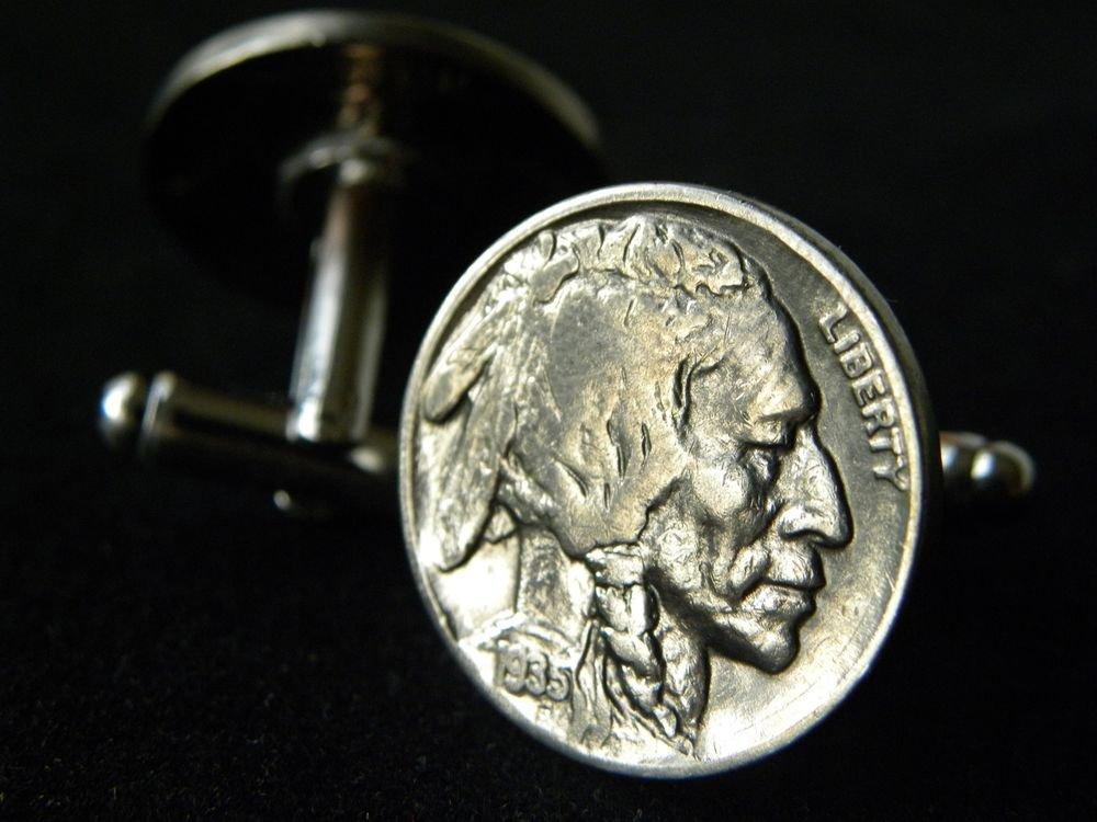 Handmade Cuff link Authentic Vintage Buffalo Indian Head Nickel coin handmade