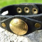 Handmade cuff Bracelet wristband Buffalo Leather Jewish Real Israel coin
