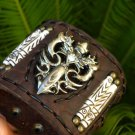 Buffalo leather bracelet wristband Stainless Steel Gothic Double Dragon Sword