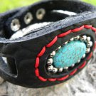 Indian Style Handmade Cuff Bracelet American Bison leather, Horn Turquoise Stone