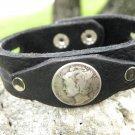 Bracelet Buffalo leather wristband Silver Mercury dime coin customize unique