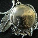 Necklace1935 Real Buffalo Indian Nickel  Handcraft Tibaten Silver Plate pendant