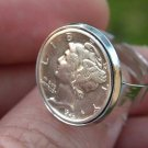 Vintage Silver Mercury dime coin adjustable ring or necklace or earring handmade
