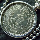 Vintage Aztec Calendar Mexican coin 10 centavos  handmade necklace stainless