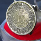 Vintage Aztec calendar coin Handcrafted ring 10 centavos Mexican coin