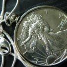 1943  Vintage Walking Liberty Half dollar silver full face VF necklace pendant