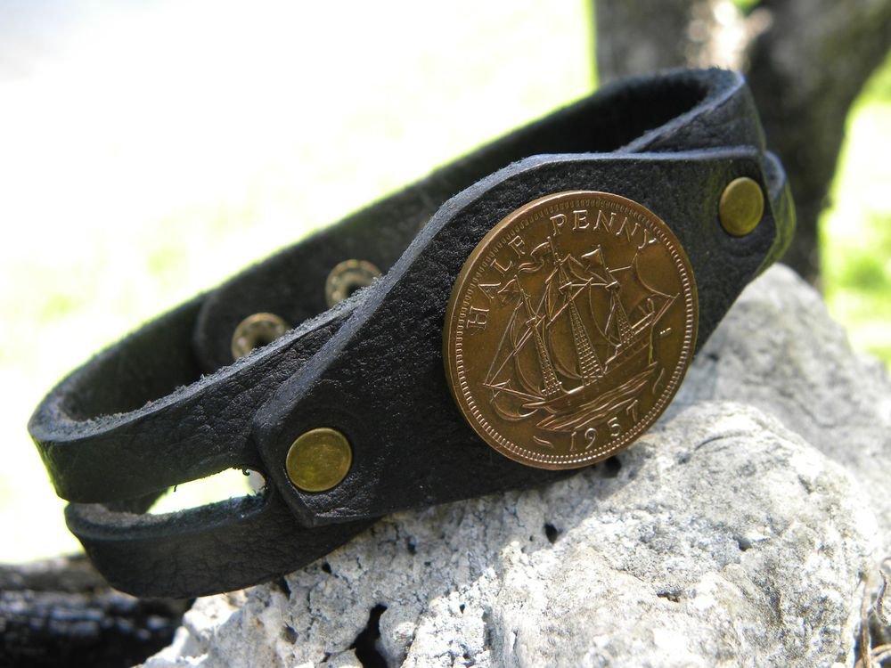 Handmade cuff Bracelet wristband Buffalo Leather UK Great Britain 1957 coin