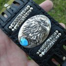 Leather cuff Bracelet  Sterling  Turquoise signed  Eagle silver Indian style