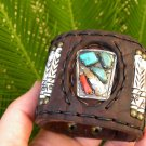 Customize  Buffalo leather Ketoh Bracelet Navajo silver  Indian  signed CHEMA