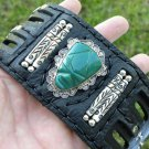 Buffalo leather Aztec style bracelet  NS Sterling Silver Carved Green Onyx Mask