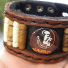 Handcrafted  Artisan Bracelet Genuine Buffalo leather Seminoles Indian Logo mg