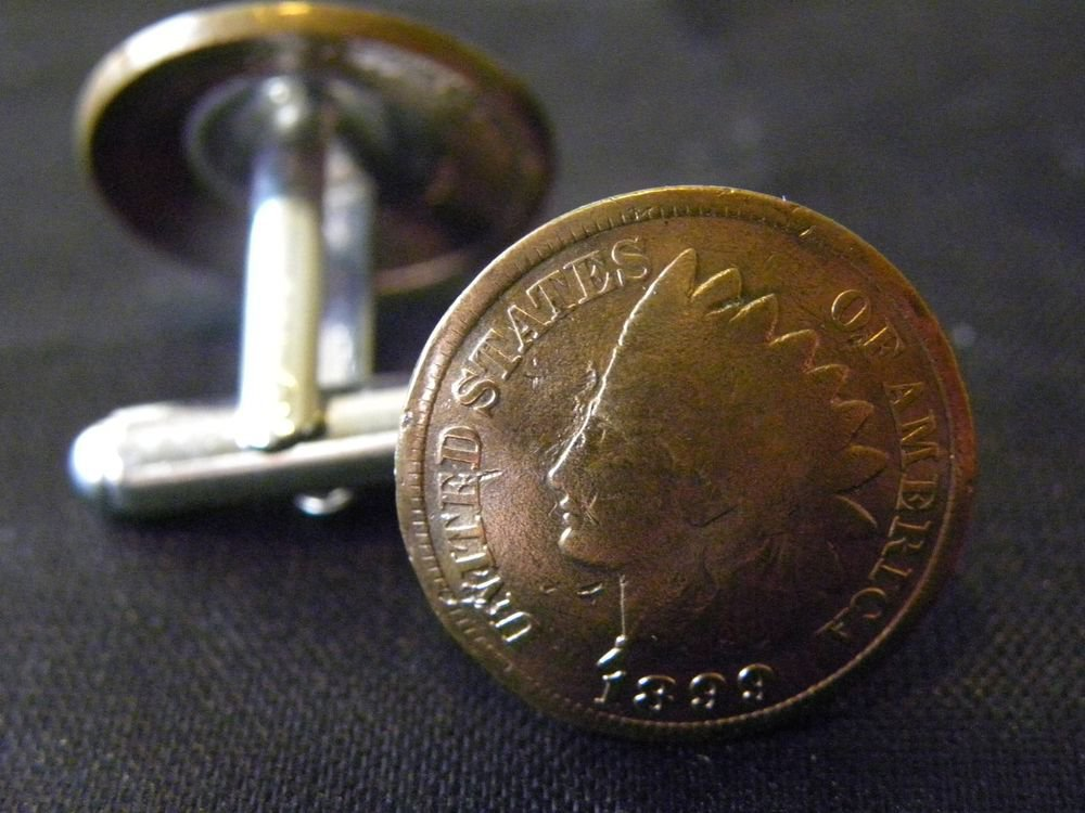 Handmade Cuff link 1899 1899 Authentic vintage  Indian Head  Penny coin