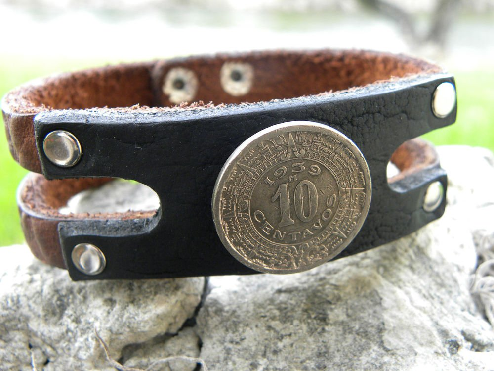 Handmade leather Cuff Bracelet Buffalo Leather wristband  Aztec Calendar  cool