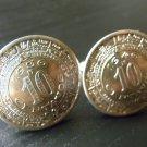 Handmade Cufflinks 1936 1946 Real Aztec Calendar coins 10 centavos Mexican coins