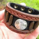 Signed Bracelet Buffalo Leather wristband Silver Mercury dime coin Customize