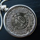 Real  Aztec Calendar coin handmade necklace silver solid chain no stone 18 inch