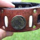Handmade Cuff  Bracelets Genuine Buffalo Leather  Buffalo Indian Nickel coin
