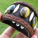 Cuff Bracelet  Genuine Buffalo Leather & Stone Handmade Adjustable Indian style