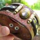 Bracelet Buffalo Leather Natural Agate  stone  Customize handmade Indian Style