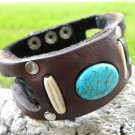 Handmade cuff Bracelet  Genuine Bison Leather cuff wristband Turquoise