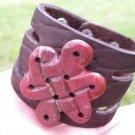 Natural Jasper cuff signed Bracelet Handmade Buffalo Leather Navajo Ketoh style