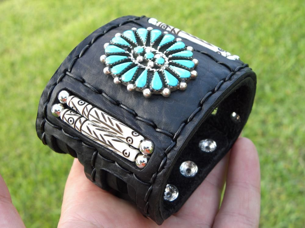 Authentic Indian Ketoh Bracelet Buffalo leather silver turquoise signed B Yazzie