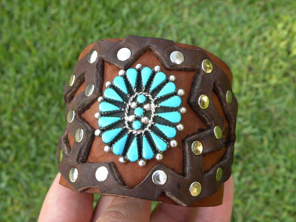 Native Indian Authentic Bracelet Buffalo leather silver turquoise signed BYazzie