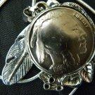 Handmade Vintage Real Buffalo Indian Head  Nickel coin Necklace Pendants  mg