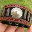 Signed  Bracelet  Buffalo Leather wristband 5 centavos Aztec calendar Mexican