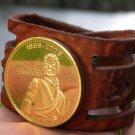 Genuine  Buffalo Leather Unique Bracelet Michael Jackson Gold Plated Memory coin