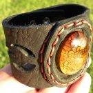 Natural  Agate Stone gemstone Bracelet Genuine Buffalo Leather wristband mg