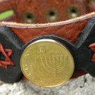 Handmade Jewish cuff Bracelet wristband US Bison Leather Israel coin