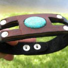 Cuff Bracelet Buffalo leather, Turquoise handmade  mixed metals