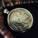 Necklace Authentic Buffalo Indian Nickel coin  readable dates bamboo style wood