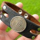 Handmade Cuff  Bracelets  Buffalo Leather Aztec Calendar coin so stone
