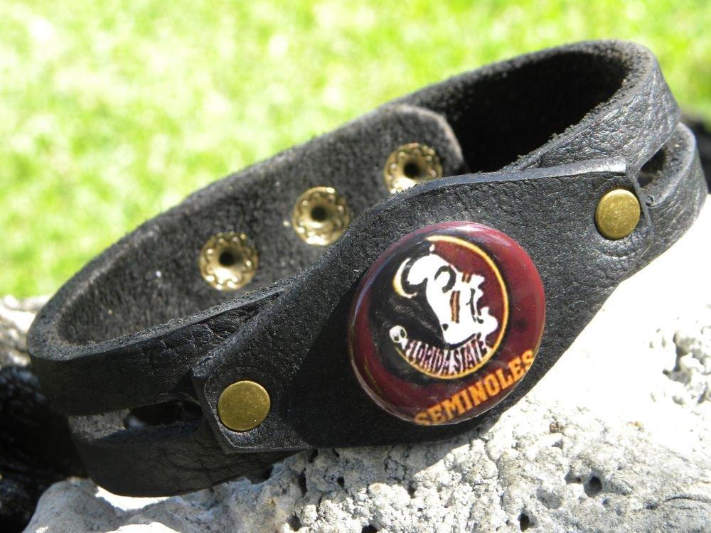 Handmade leather cuff Bracelet Genuine Buffalo Leather Florida Seminoles Logo