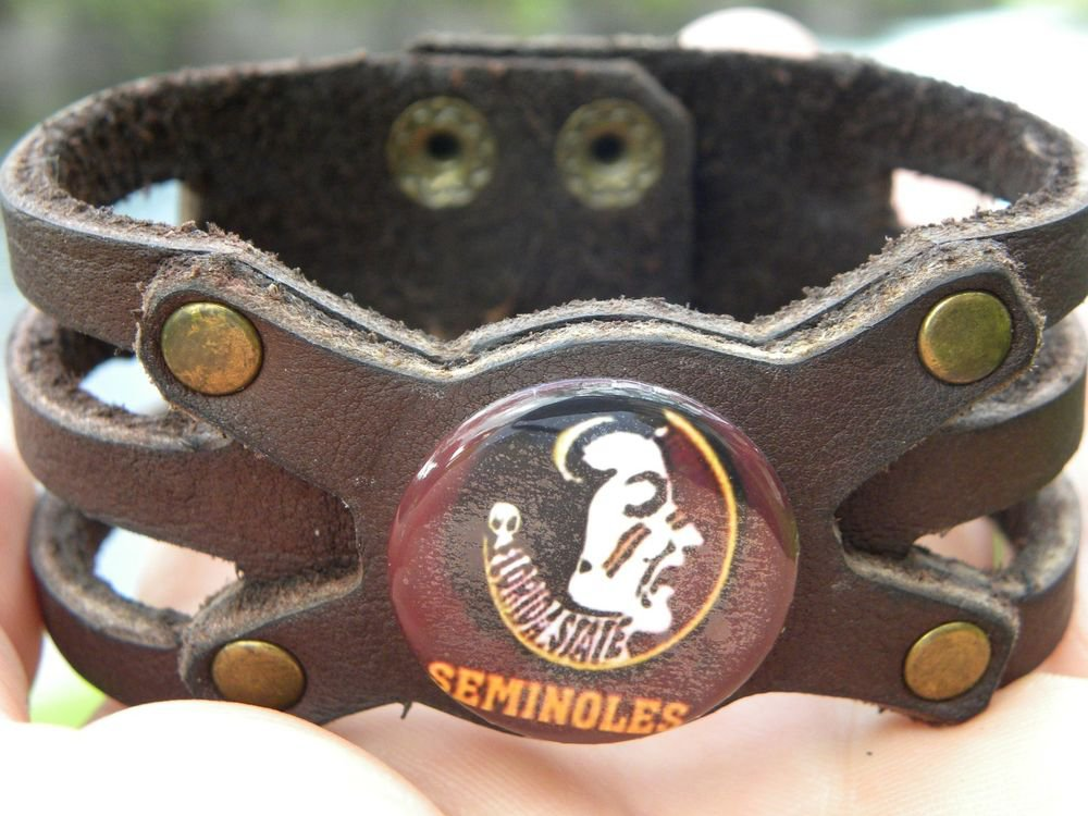 Handmade Buffalo Leather cuff Bracelet  Florida State Seminoles Logo FSU