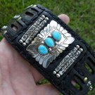 Authenc Leather Ketoh cuff Bracelet Sterling  Turquoise signed Native Indian RSP