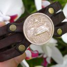 Signed Bracelet Buffalo Leather wristband 20 Centavos Aztec Pyramid Mexican coin