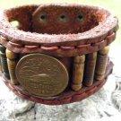 Customize USA Bracelet  Bison Leather Aztec Pyramid Bone Aztec Style cuff