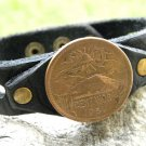 Aztec Pyramid Coin handmade cuff Bracelet Buffalo leather mixed metals signed