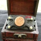 1718  PIRATE Coin Handmade cuff Bracelet Bison leather  mixed metals no stone