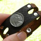 Handmade bracelet  Buffalo Leather cuff wristband  Buffalo Indian Nickel coin mg