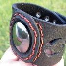 Natural  Agate Stone Bracelet Genuine Buffalo Leather customize wristband mg