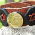 Customize Memorah Jewish cuff Bracelet Genuine Buffalo Leather Israel coin