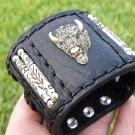 Signed  Bracelet  Buffalo Leather Buffalo Head  bones customize Rockstar